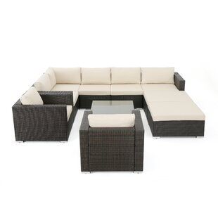 Brayden Studio Aftonshire 10 Piece Rattan Sectional Seating Group with Cushions
