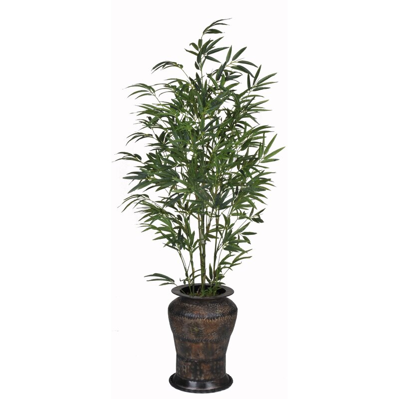 House Of Silk Flowers Bamboo Floor Plant In Decorative Vase Wayfair