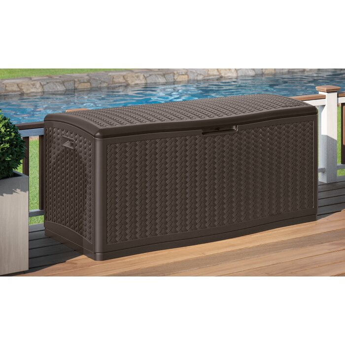 Extra Large Decorative Wicker Pattern 124 Gallon Resin Deck Box