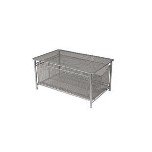 Metal/Wire Storage Basket With Sliding Drawer And Steel Mesh Platform On Top