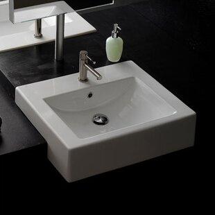 "Ceramic 20"" Semi-Recessed Bathroom Sink with Overflow"