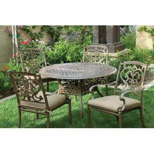 Astoria Grand Palazzo Sasso 5 Piece Metal Frame Dining Set with Cushions