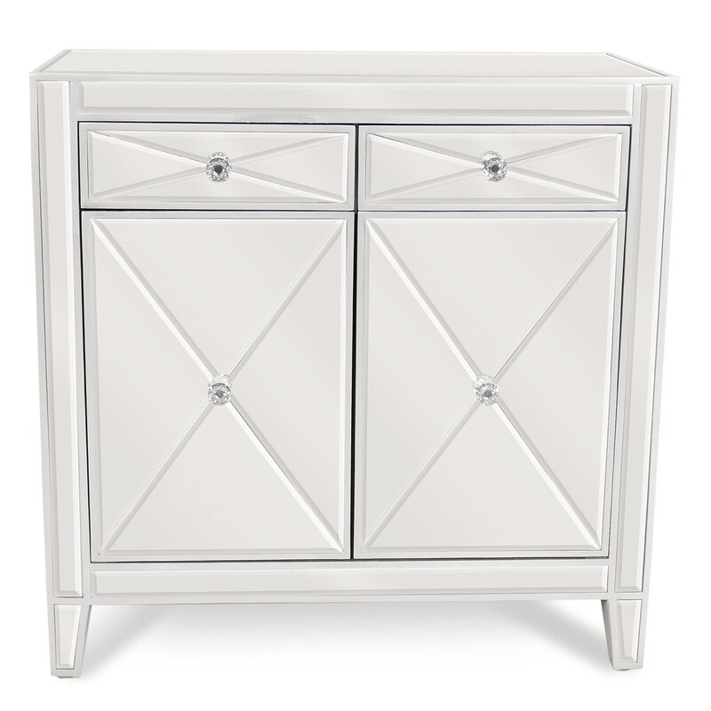 Superbe 2 Drawer Mirrored Accent Cabinet