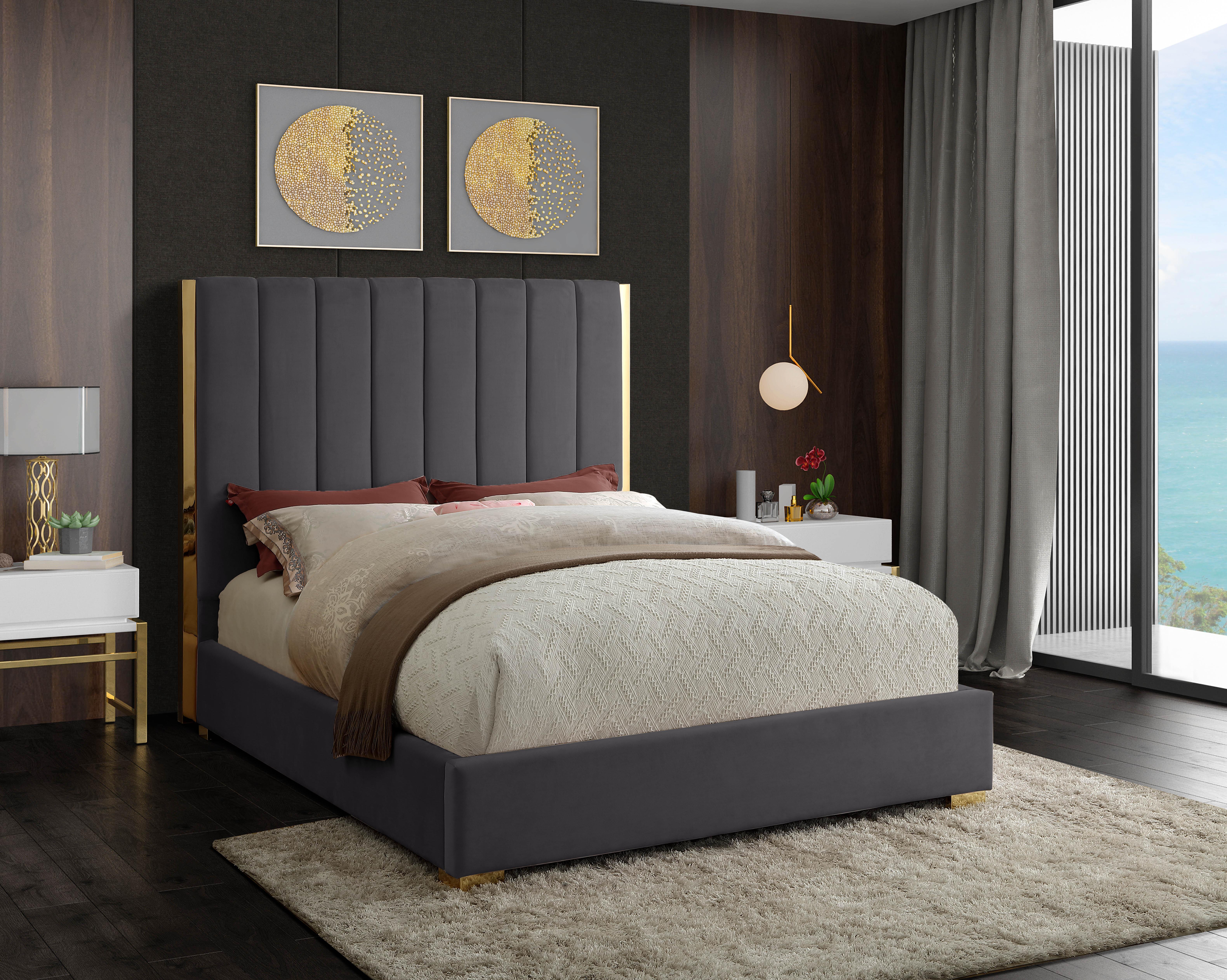 Grey Velvet Beds You Ll Love In 2021 Wayfair
