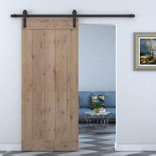 Paneled Wood Primed Alder Barn Door Without Installation Hardware Kit