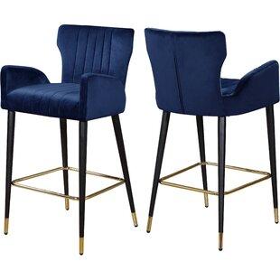 Miraculous Valerie Velvet 28 Bar Stool Set Of 2 Alphanode Cool Chair Designs And Ideas Alphanodeonline