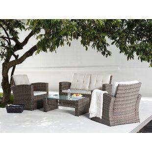 Farina 4 Piece Rattan Sofa Seating Group with Cushions