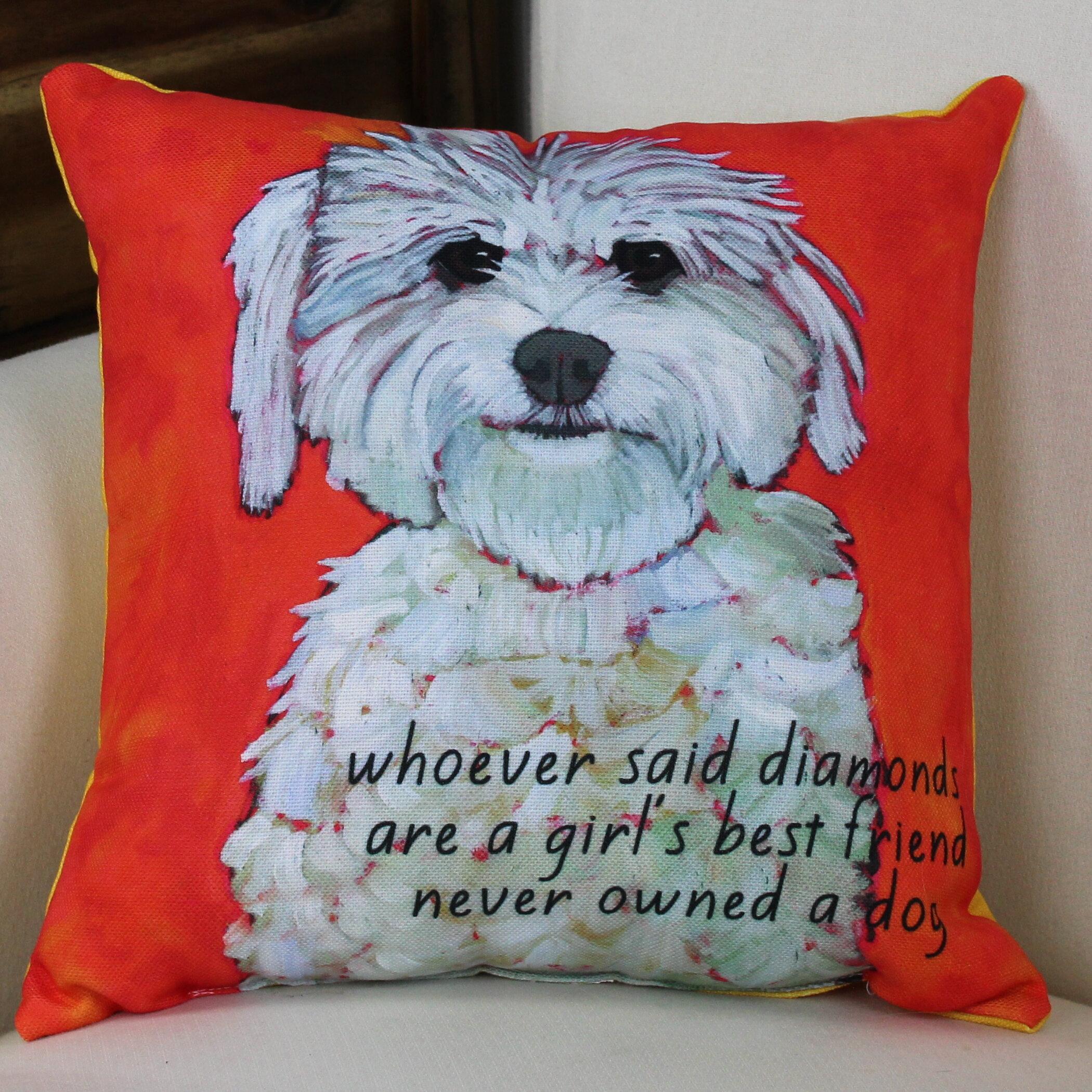Winston Porter Kaelan Girl S Best Friend Throw Pillow Reviews Wayfair