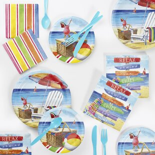 72 Piece Breezy Beach Paper/Plastic Disposable Party Supplies Kit