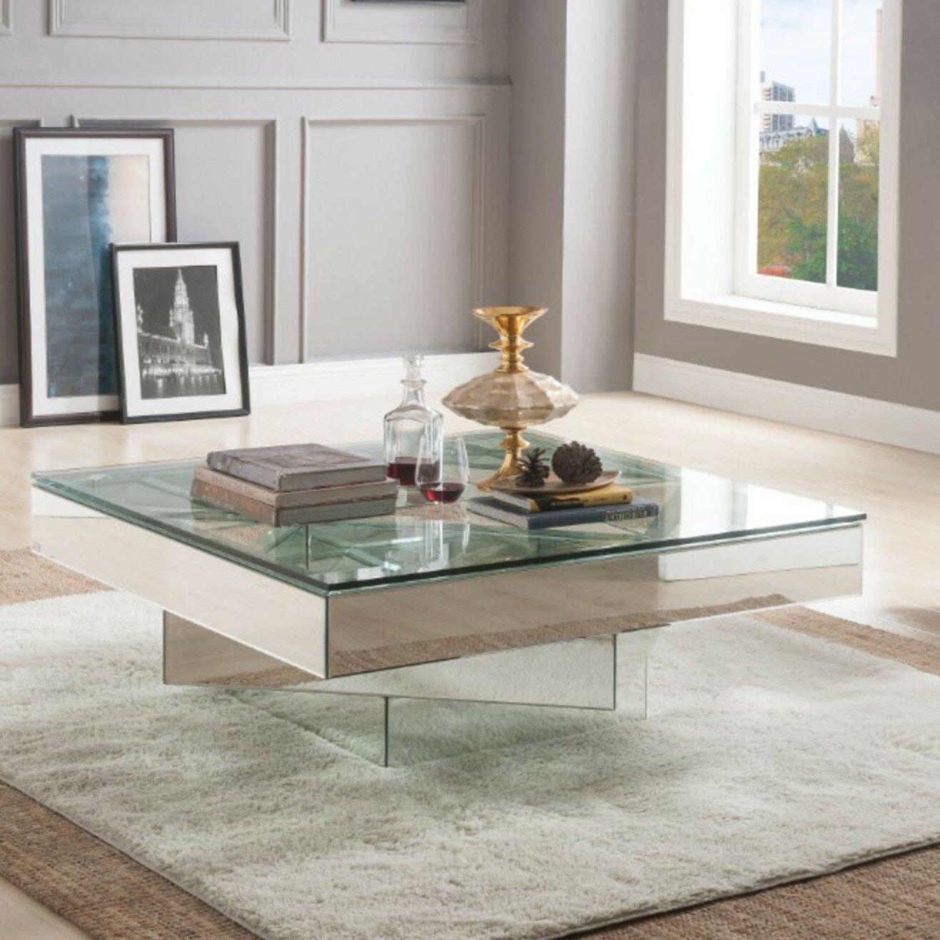 ulibarri modern square glass and mirror coffee table