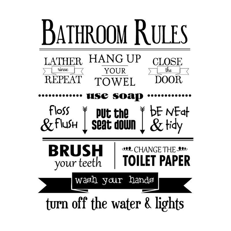 Belvedere Designs Llc Bathroom Rules Wall Quotes Decal Reviews
