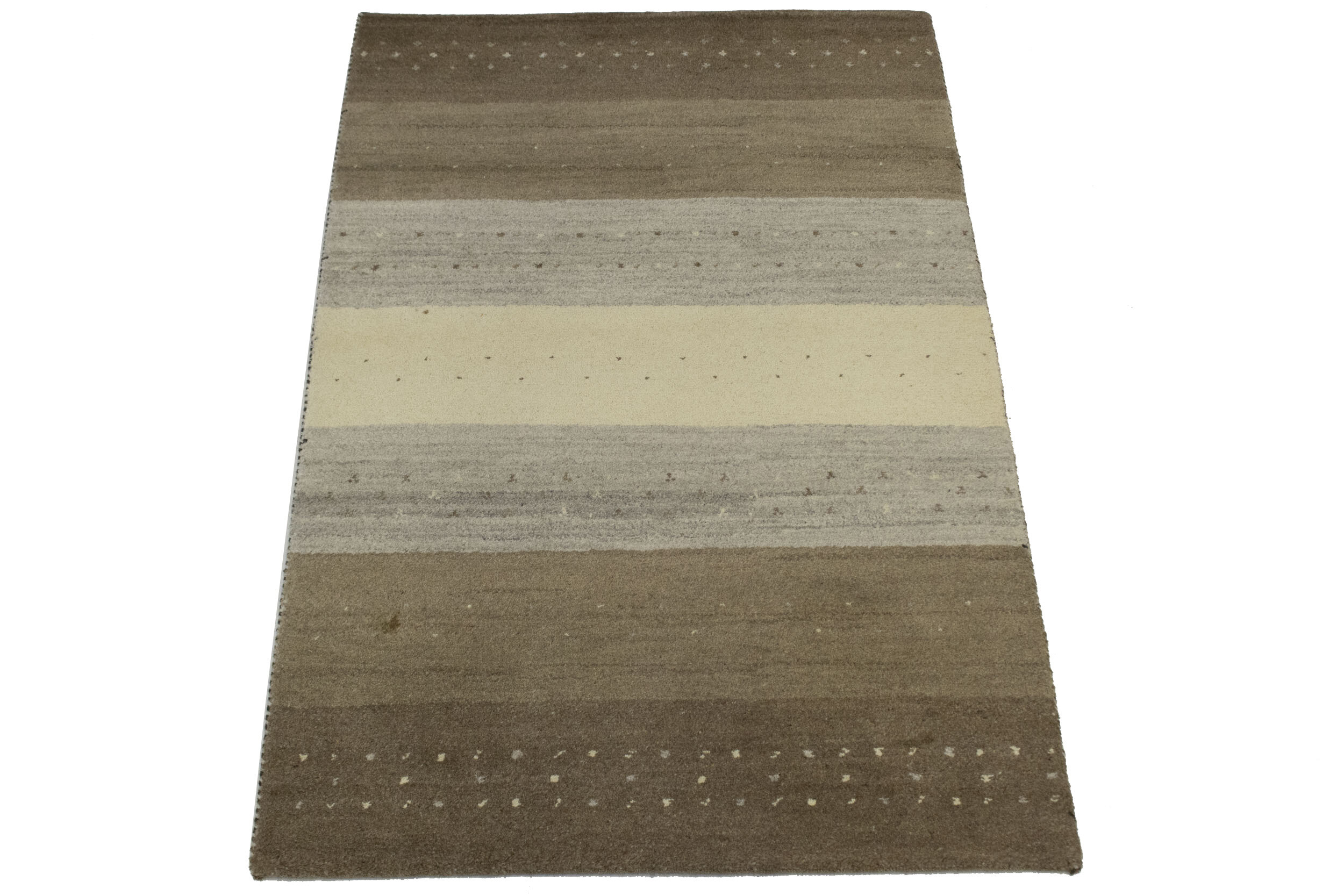 Striped Hand Knotted Wool Gray Brown Area Rug