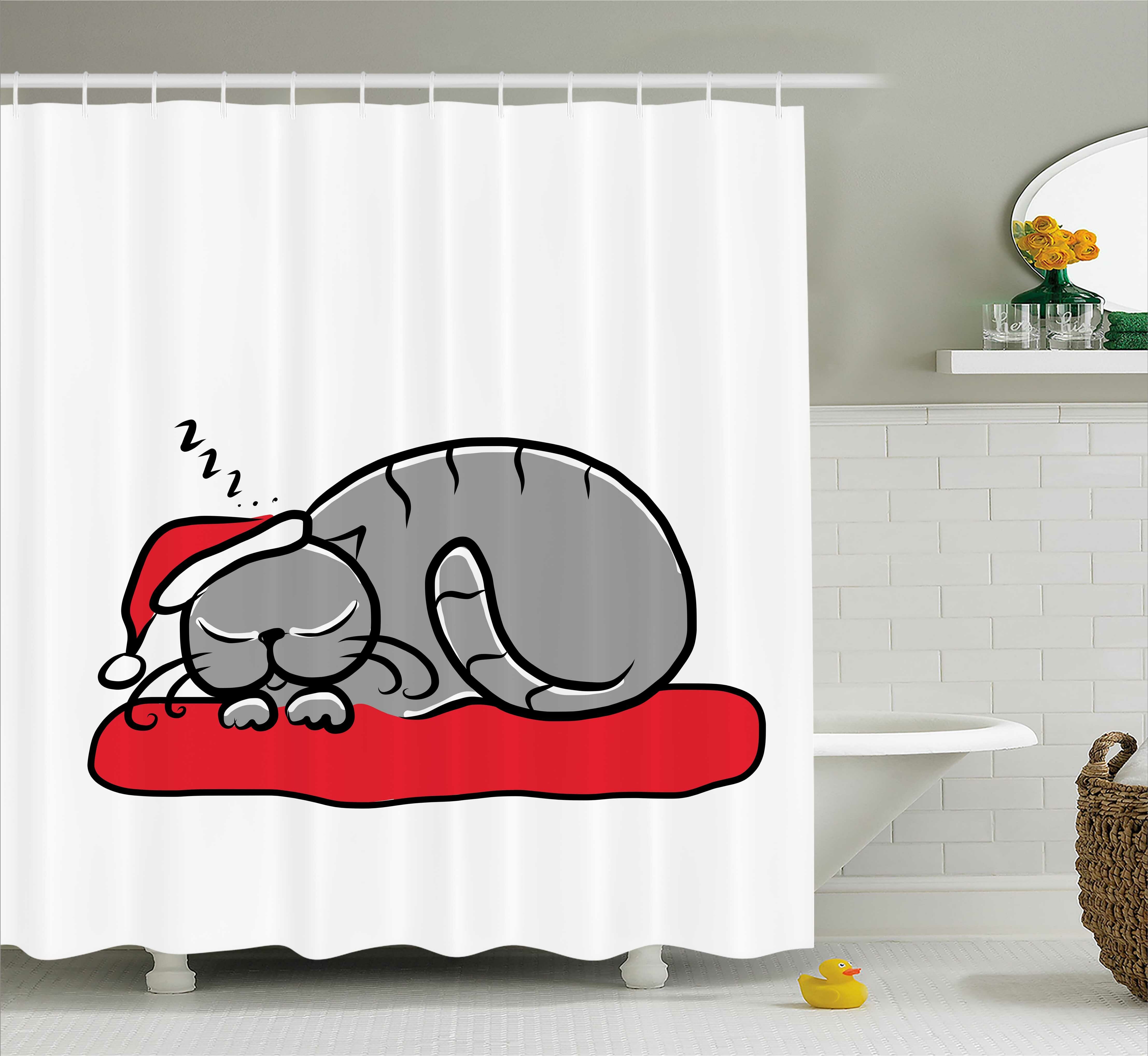 The Holiday Aisle Christmas Cat With Santa Hat Shower Curtain