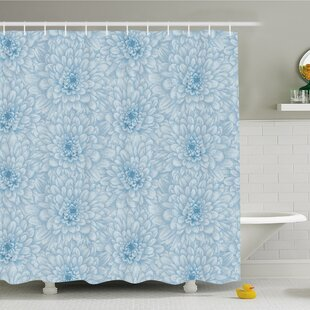 Retro Monochrome Pastel Water Cane Petals with Disc Florets Shower Curtain Set