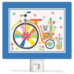 Oopsy Daisy Kitty Bicycle by Irene Chan Canvas Night Light
