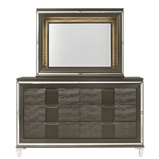 Gilmore 6 Drawer Double Dresser with Mirror (Set of 2)