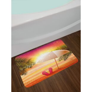 Sunset at the Beach with Flip Flops Umbrella and Palm Trees Illustration Non-Slip Plush Bath Rug By East Urban Home