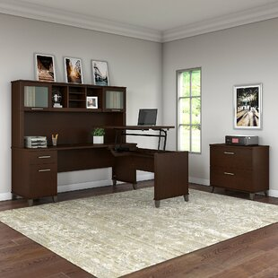 Whiteway 3 Position Sit to Stand L-Shape Computer Desk with Hutch