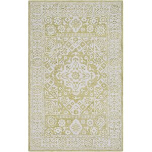 Pearson Hand-Hooked Lime/White Area Rug