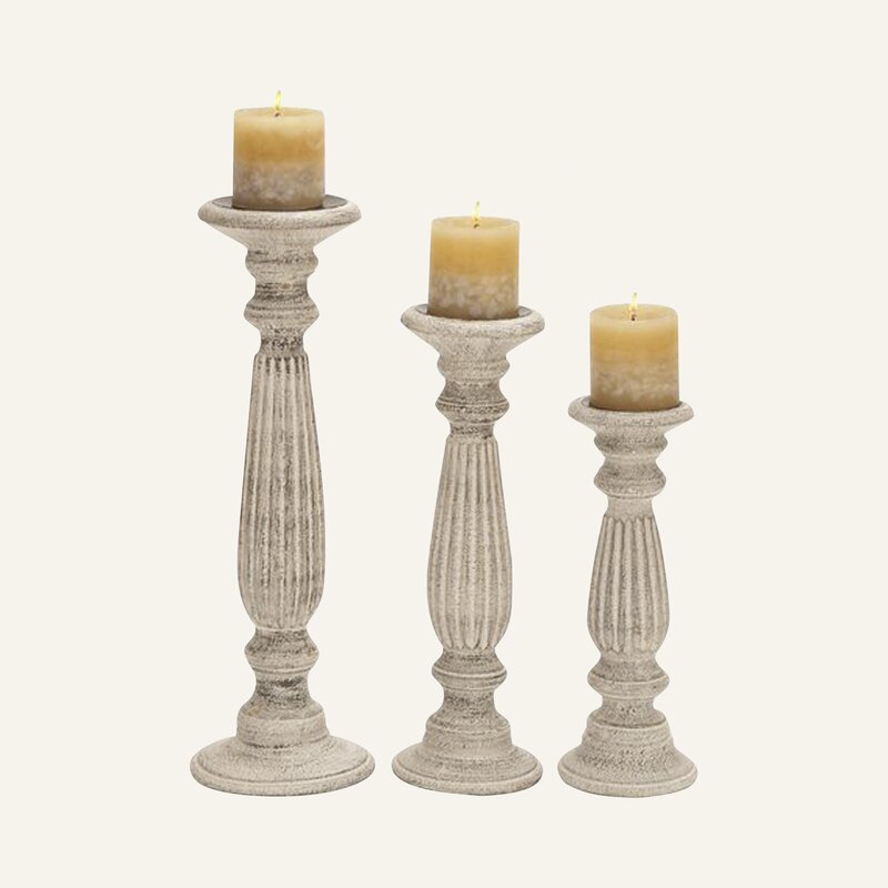 3 Piece Pillar Wood Tabletop Candlestick Set