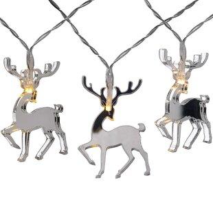 20 White Mirror Reindeer String Lights by The Seasonal Aisle