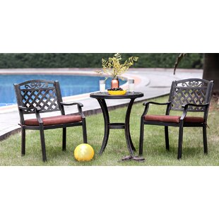 Frahm 3 Piece Patio Bistro Set with Cushions by August Grove