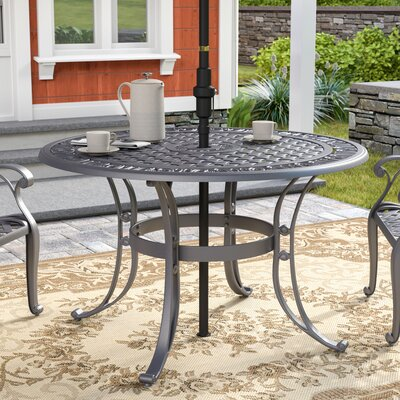 "Ayleen Metal Dining Table Color: Black Metal, Table Size: 48"" by August Grove"