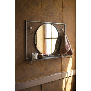 Wolak Round Wire Mesh Wall Hooks and Metal Shelf Accent Mirror ByGracie Oaks
