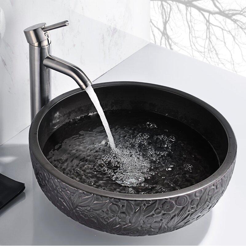 Anzzi Stellar Series Black Ceramic Circular Vessel Bathroom Sink Wayfair