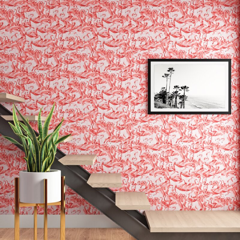 Alexio Flamingo Cheeky 16 5 L X 20 5 W Peel And Stick Wallpaper Roll Reviews Allmodern