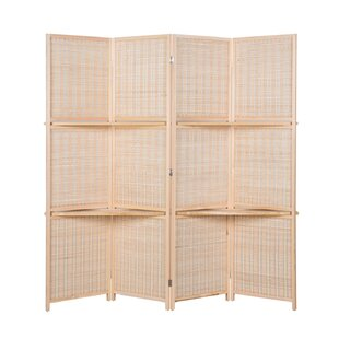 Stowthewold Bamboo 4 Panel Room Divider With Shelves