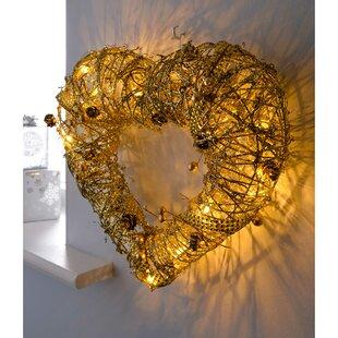 Pre-Lit Rattan Warm LED Heart 36cm Christmas Wreath Image