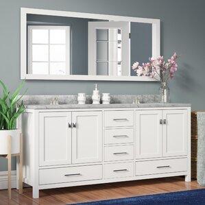 white bathroom double vanity. Serigne 72 8  Double Bathroom Vanity Set with Carrara White Top and Mirror Vanities You ll Love Wayfair