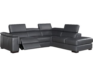 Catawissa Leather Reclining Sectional by Wade Logan 2019 Sale
