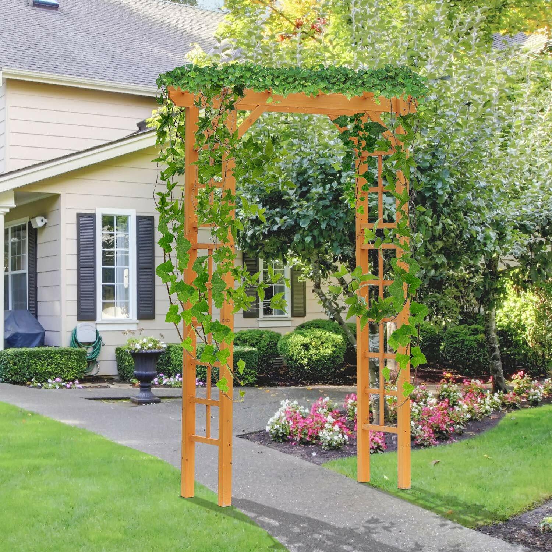 Outsunny Garden Arch Trellis 55 1 X 23 6 Wood Arbor Reviews
