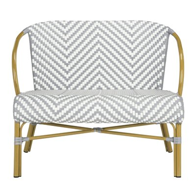 Bungalow Rose Blewitt Herringbone Garden Bench Color: Gray/White