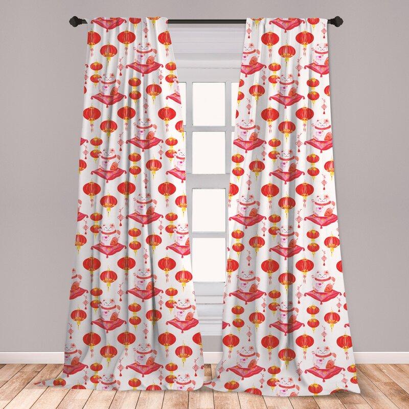 East Urban Home Japanese Cat Room Darkening Rod Pocket Curtain Panels Wayfair