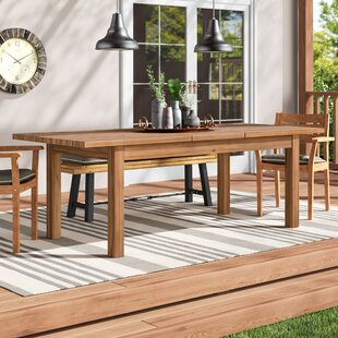 Statler Outdoor Extendable Wooden Dining Table