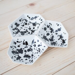 Inexpensive 3 Piece Large Geometric Ring Dish Set in Ink Spot ByClarke Collective
