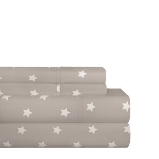 Shedeck Gray Stars 200 Thread Count 100% Cotton Sheet Set
