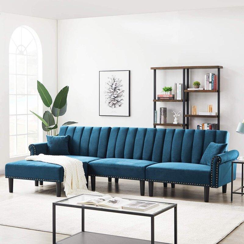 Mercer41 Glascock 118 Velvet Reversible Sleeper Sofa Chaise With Ottoman Wayfair
