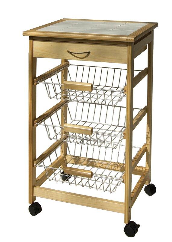 astoria grand stratford kitchen cart with wood top & reviews   wayfair