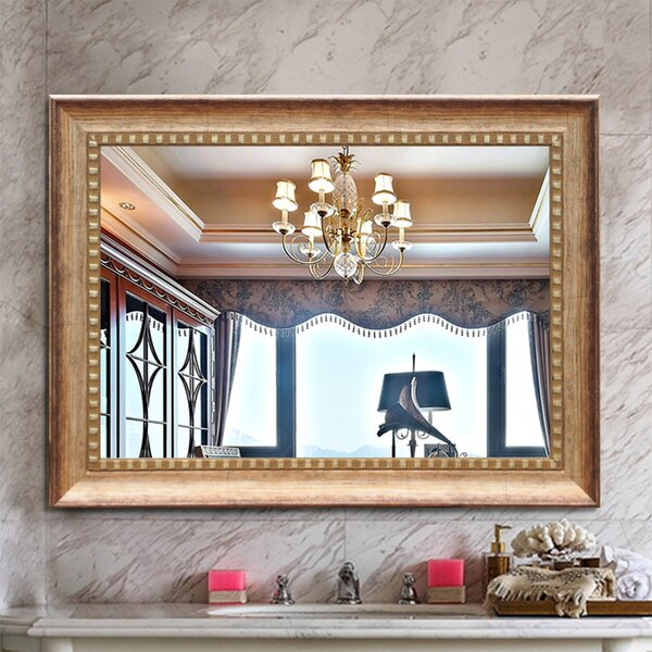 Mirror Cherry Traditional 28 34 Inch Wall Mounted Vertical Horizontal Rectangle