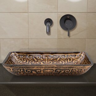 Greek Glass Rectangular Vessel Bathroom Sink with Faucet