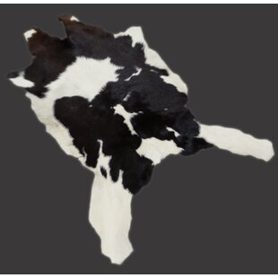 Inexpensive Creason Small Calf Hand-Woven Cowhide Black/White Area Rug By Loon Peak