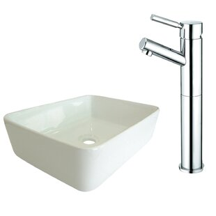 Price comparison Ceramic Square Vessel Bathroom Sink with Faucet By Kingston Brass