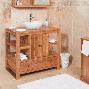Gagne Solid Oak 90mm Free Standing Vanity Unit By Ebern Designs