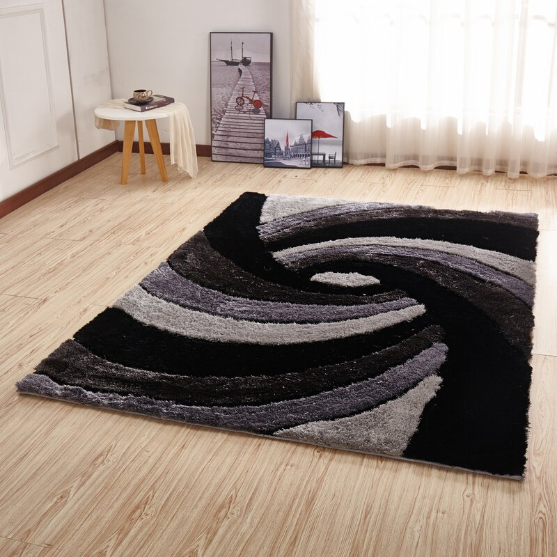 Orren Ellis Kleiber Shaggy 3d Grey Black White Area Rug