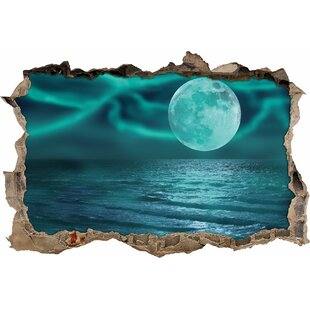 Calm Sea With Full Moon Wall Sticker By East Urban Home