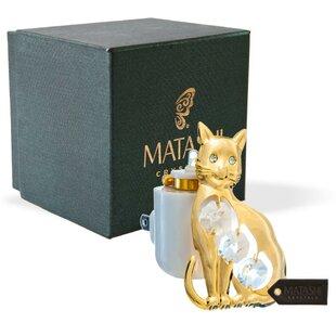 Matashi Crystal 24K Gold Plated Crystal Studded Kitty Cat LED Night Light